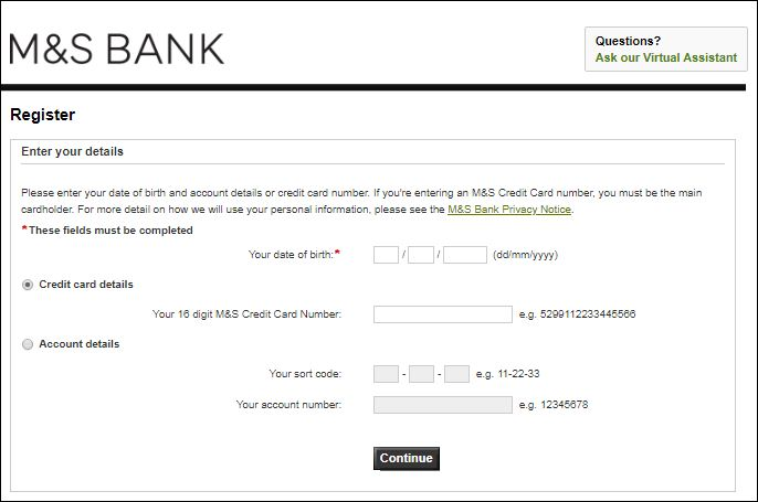 activate marks and spencer debit card activation
