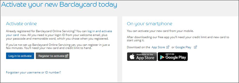 My Barclaycard Activation