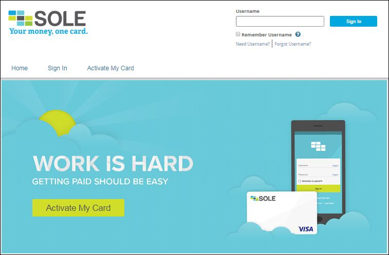 activate sole pay card