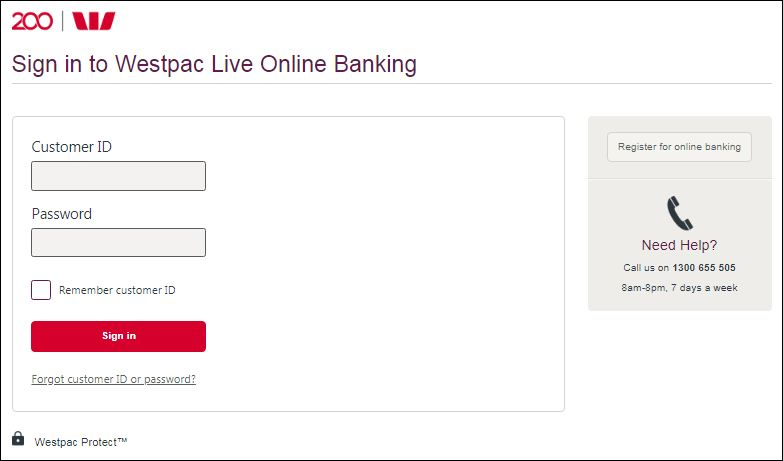 westpac credit card login