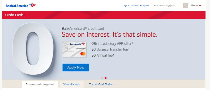 Activate bank o america card