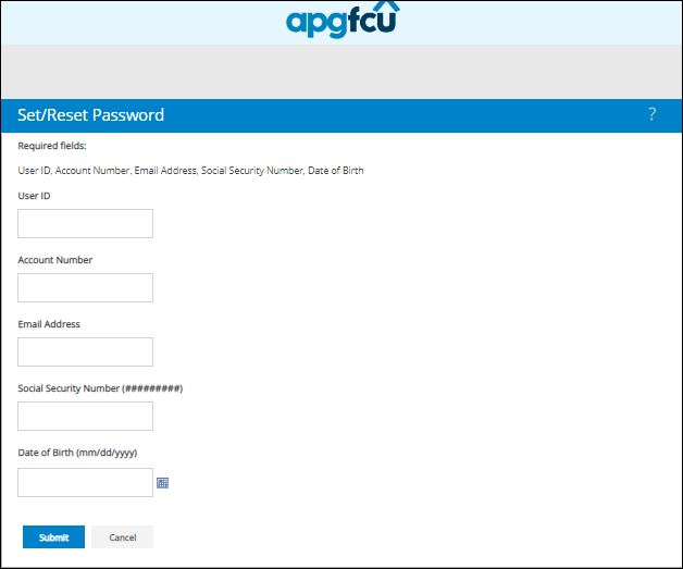 Reset APGFCU Login Password