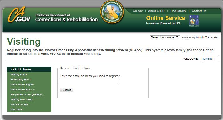 Reset Visitor Processing Appointment Scheduling System Username