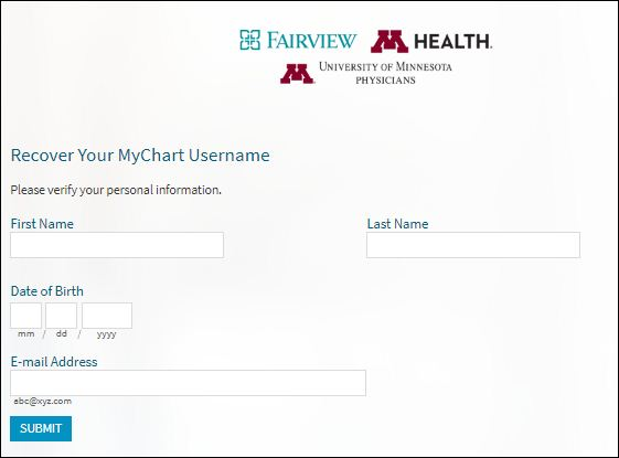 Reset Fairview Mychart Login Username