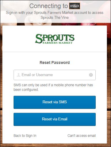 Reset Sprouts Login Username
