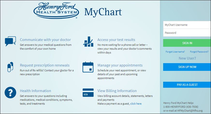 Henry Ford Health System My Chart | Chart Designs Template