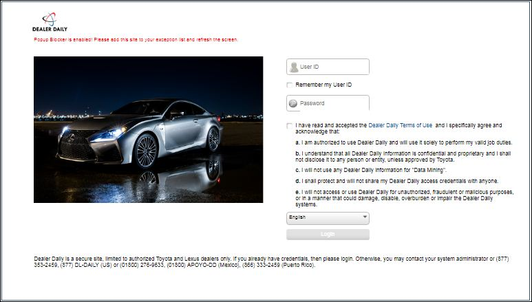 Lexus Dealer Daily Login