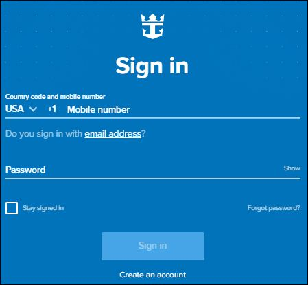 royal caribbean crown and achore login