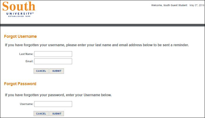 Reset South University User Name and Password